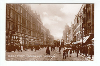 Argyle Street Glasgow 562 902 863 Trams Lots Of People Pre 1914 Real Photograph