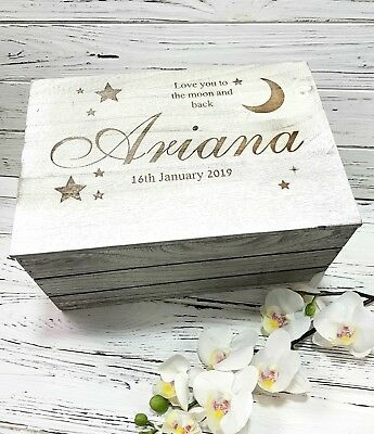 Personalised Engraved Baby Wooden Keepsake Box Heart star Love you to the moon