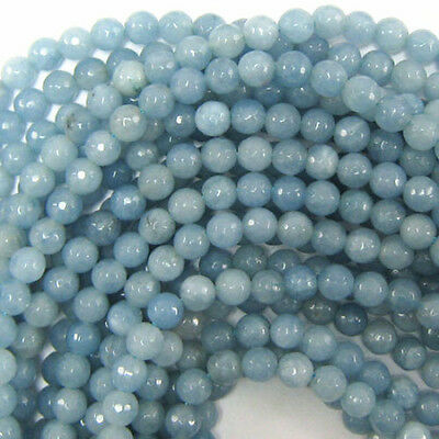 "6mm Natural Faceted Blue Aquamarine Round Gemstone Loose Beads 15"" AAA+"