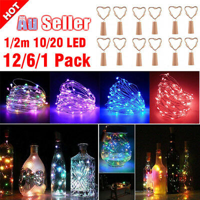 12X 2M 20 LED Cork Copper Wire Fairy String Lights Wine Bottle For Party Wedding