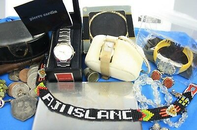 Vintage Lot Watches DKNY Pierre Cardin Costume Jewellery Charms Coins & Curios