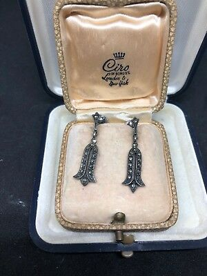 Sparkling Art Deco Marcasite Sterling Silver Earrings Jewellery Antique Vintage