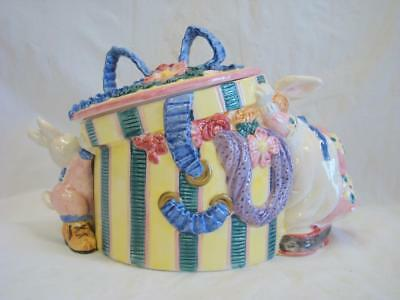 Cotton Tailors Hat Box Bunny Rabbits Cookie Jar Fitz and Floyd with Box