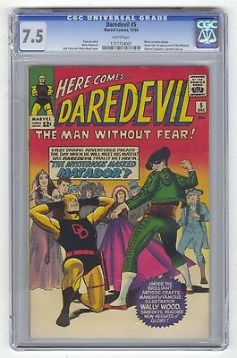 Daredevil #5 CGC 7.5 HIGH GRADE Marvel Comic KEY 1st Matador WHITE PAGES