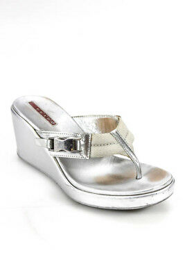 b03adfe6e Prada Sport Womens Sandals Size 35 5 Silver Metallic Canvas Leather Flip  Flops