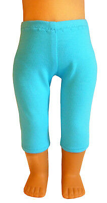 """For 18"""" American Girl Doll Clothes Turquoise Colored Capri Leggings Teal"""