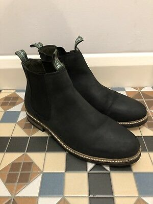 Mens Barbour Black Leather FARSLEY Chelsea Ankle Boots Sz 9 43 RRP Nearly New