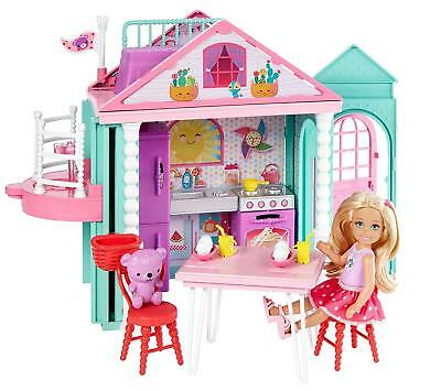 BEAUTIFUL Barbie FAMILY Portable Colourful Building, Doll House Gift Dolls Pink