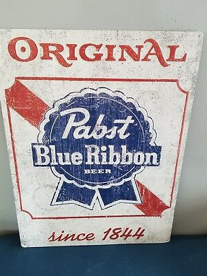 (L@@k) Pabst Blue Ribbon Beer Tin Sign Milwaukee Bar Game Room Man Cave Pbr