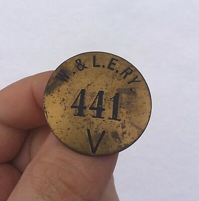 Early Original Wheeling and Lake Erie Railway Railroad Pin Button Badge W&LE RY