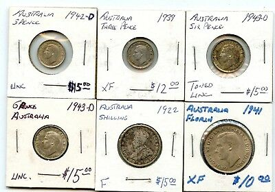 1922-1943 6 Pc. Australian Silver Coin Lot From Estate!!!! .starts @ 2.99