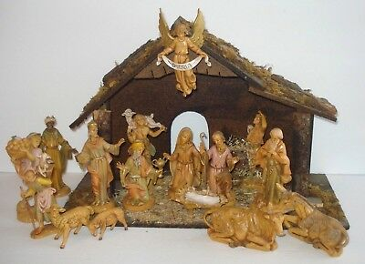 Vintage Fontanini By Roman Nativity Set Stable & 16 Pieces Depose Italy 5""
