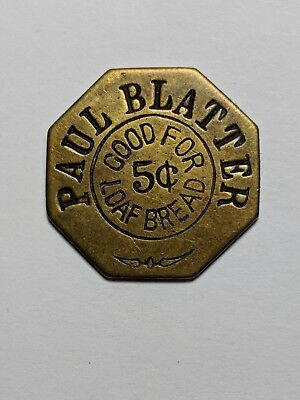 Illinois Trade Token - Paul Blatter / Good For 5¢ Loaf Bread / Litchfield, Il