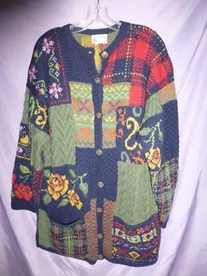 Vtg LAURA ASHLEY Cardigan Sweater Tunic Floral Plaid Chunky Wool Knit patchwork