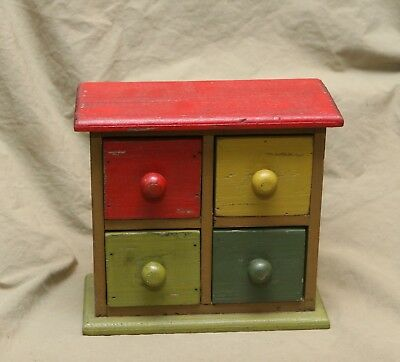 Vintage Painted Wood 4 Drawer Spice Box Folky Hand Made Primitive Doll Dresser