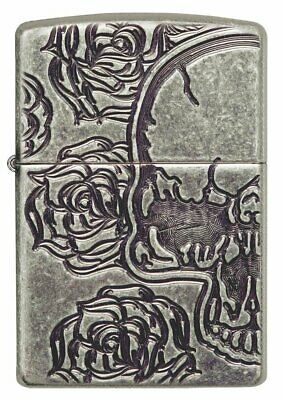 Zippo Skull and Roses, Antique Silver Plate, Genuine Windproof Lighter #28988