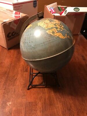 simplified 8 inch globe, Replogle Globes, 1946-1961, vintage, antique