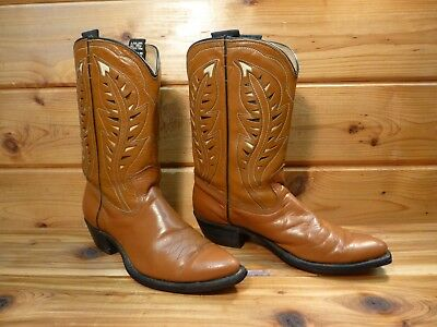 VINTAGE 1950's COWBOY BOOTS ACME WESTERN MEN'S BOYS SIZE 6 B CLOTH PULL INLAY