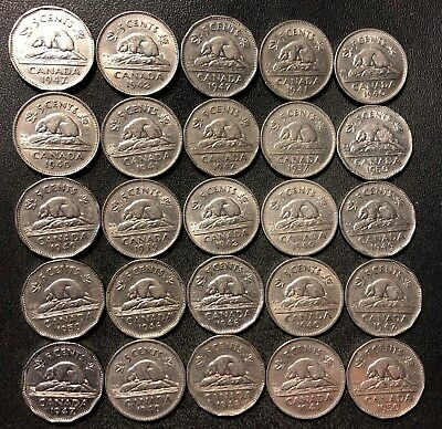 Old Canada Coin Lot - 1937-1950 - 25 Excellent Nickels - Lot #J16