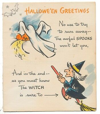 Hallmark Halloween Card from 1940's - Witch & Ghost