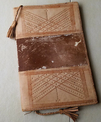 Hand Crafted Tooled Leather Document Holder, Cow Hide Portfolio. Western Motif