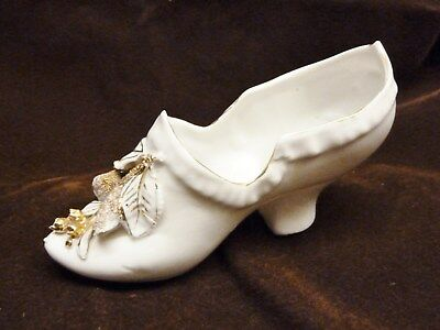victorian large china shoe with flowers leaves trinket pot staffordshire 1890s