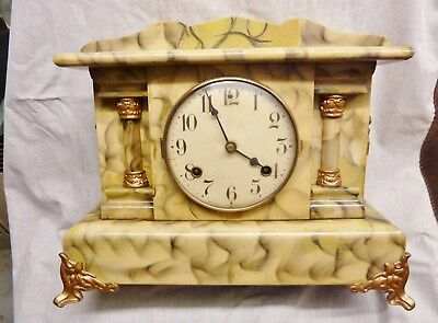 rare american antique mantel clock made by waterbury usa dorset model oiled old