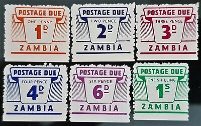 Zambia 1964 Sc # J1 to Sc # J6 Postage Due Mint Stamps Set