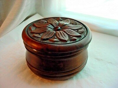 Bohemian Wooden Coasters with Hand Carved Storage Jar Flower Motif 10 count