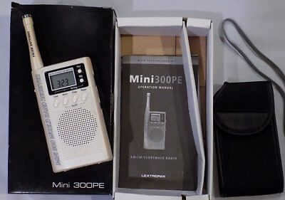 Eton Grundig LEXTRONIX MINI 300PE AM/FM/SHORTWAVE RADIO In Box w/ Book, Case