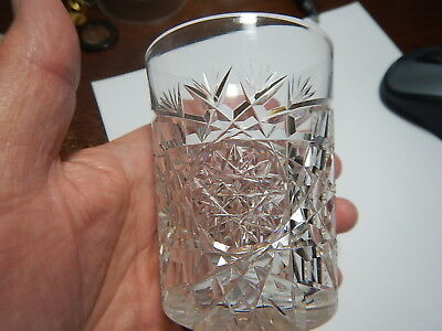 American Brilliant Cut Glass tumbler very heavy  pattern estate collection