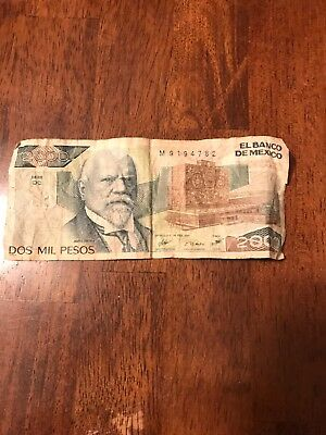 2000 pesos bill mexico, DOS MIL PESOS, old circulated currency