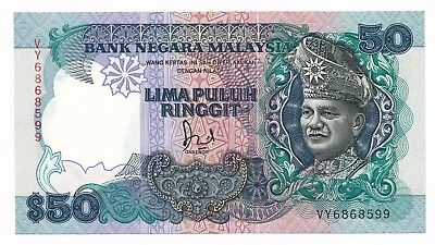 Malaysia $50 50 Ringgit Note aUNC P. 31 ND 1989 Prefix VY