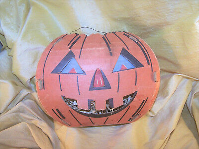 VINTAGE Halloween cardboard Trick or Treat jack-o-lantern / pumpkin 1950's OLD