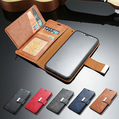 For iPhone X Leather Case XS Max XR Deluxe Folio Card Pocket Wallet Stand Cover
