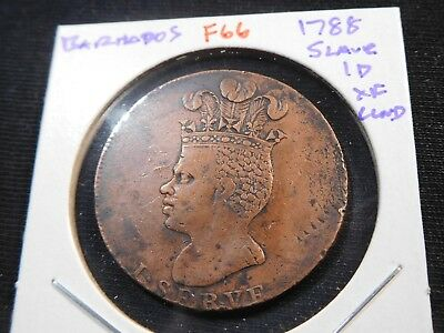 F66 Barbados 1788 Slave Penny XF Cleaned