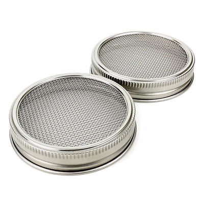 Stainless Steel 2Pcs Wide Mouth Mason Canning Jars Strainer Sprouting Lids