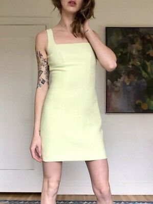 Vintage 90s Lime Green Structured Dress XS