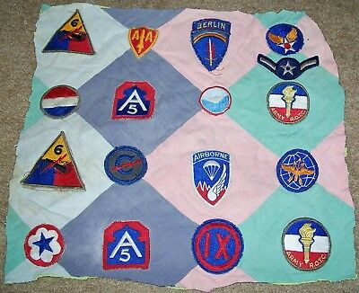 LOT #2: ORIGINAL WW2 - 1950's PATCHES SEWN ON QUILT SECTION (GLOWS)