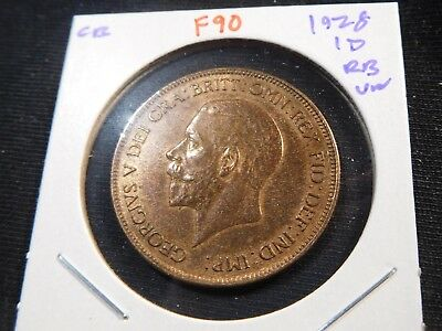 F90 Great Britain 1928 Penny UNC Red Brown