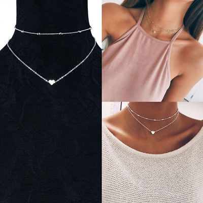 Women Simple Double Layers Chain Heart Necklace Fashion Jewelry Accessories Gift