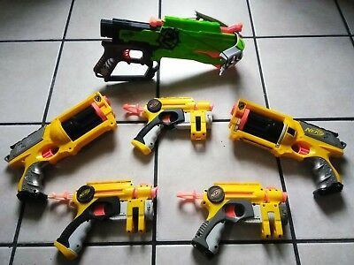 LOT Of 6 Nerf Guns Maverick Rev 6 ZombieStrike Cross Bow