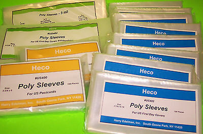 1200  #6 3/4 Fdc, #10 Cover, & Us Postcard Poly Sleeves, Heco Safe-T-Retail $70