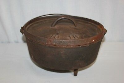 Antique Vintage Cast Iron Footed Dutch Oven Lid Handle 10 inch Camping Pot pan