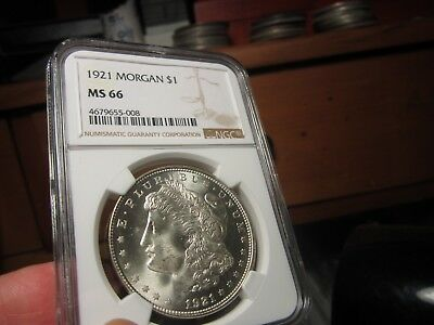 Really Nice Quality Morgan 1921-P Ngc Ms-66   A Clean And Pure White Gem  Pq