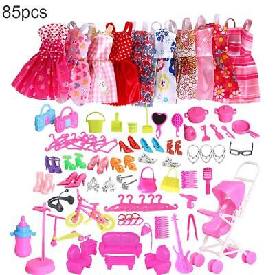 85 PCS Barbie Jewellery Doll Clothes Set Dresses Shoes For Girl's Christmas UK