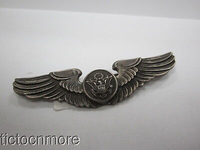 "US WWII ARMY AIR CORPS AIR CREW STERLING 3"" PILOT WINGS USAAF BADGE AMICO Co"