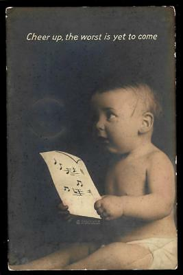 1¢ Wonder's ~ 1919 Real Photo Postcard W/ Baby Holding Sheet Music ~ R569