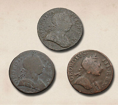 GREAT BRITAIN. George III Evasion Non-Regal Halfpenny, 1771, Lot of 3