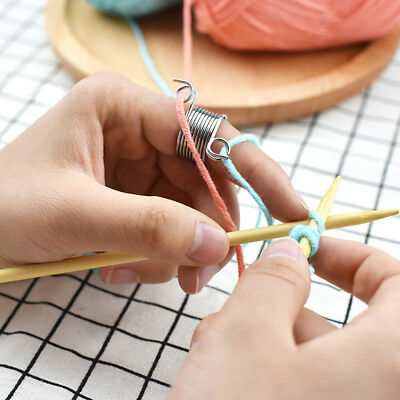 Metal Yarn Guides Braided Useful Finger Ring Knitting Needle Thimble Sewing Tool